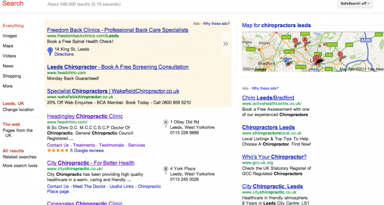 chiropractors leeds top of google places
